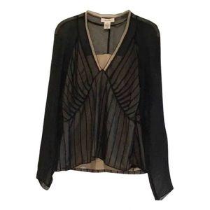 Calvin Klein Black Silk Long Sleeve Blouse